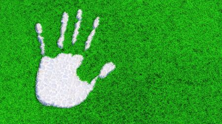 Concept or conceptual stone paving  handprint on grass background.  A metaphor for ecology, environment, recycle, nature conservation, spring or protection against global warming 3d illustration