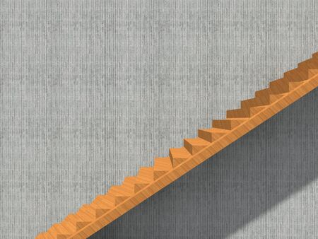 Conceptual stair on wall background building or architecture as metaphor to business success, growth, progress or achievement. 3D illustration of creative steps riseing up to the top as vision design Stockfoto