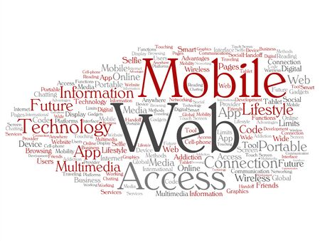 Vector concept or conceptual mobile web portable multimedia technology abstract word cloud isolated background. Collage of access, future app lifestyle communication, social tool, online services text Illustration