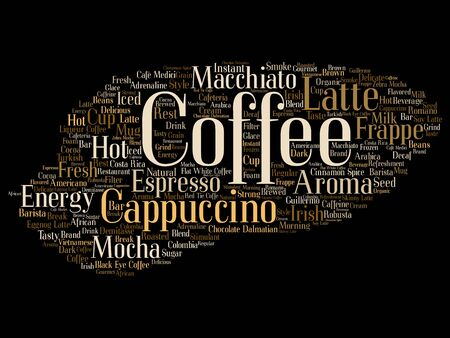 Vector conceptual creative hot morning italian coffee break, cappuccino or espresso restaurant or cafeteria abstract beverage word cloud isolated on background. An energy or taste drink concept text Vector Illustration