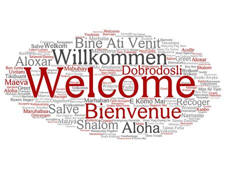 Vector concept or conceptual abstract welcome or greeting international word cloud in different languages or multilingual. Collage of world, foreign, worldwide travel, translate, vacation tourism text Illustration