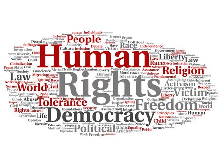 Vector concept or conceptual human rights political freedom, democracy abstract word cloud isolated background. Collage of humanity world tolerance, law principles, people justice discrimination text Banque d'images - 129286140