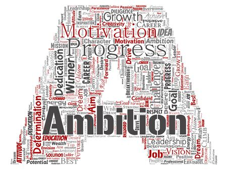 Conceptual leadership ambition or motivation letter font red successful character word cloud isolated background. Collage of business growth challenge, positive dream inspiration goal concept Stockfoto - 129231514