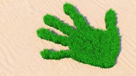 Concept or conceptual green grass handprint on sand background. A metaphor for ecology, environment, recycle, nature conservation, spring summer or protection against global warming 3d illustration Stockfoto