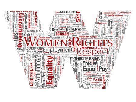 Droits des femmes conceptuelles, égalité, police de lettre de libre arbitre W fond isolé de nuage de mot rouge. Collage du féminisme, autonomisation, intégrité, opportunités, prise de conscience, courage, éducation, concept de respect Banque d'images