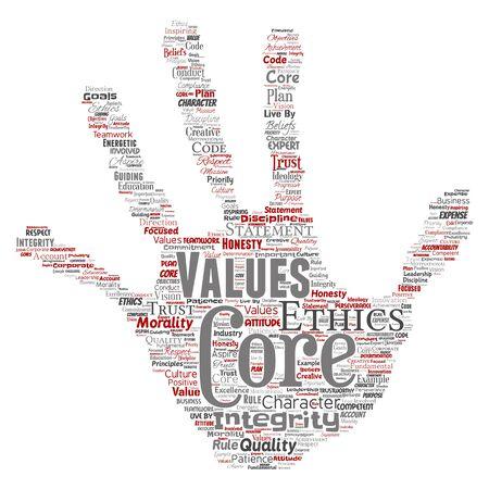 Valeurs fondamentales conceptuelles intégrité éthique main impression timbre concept mot nuage isolé fond. Collage d'honnêteté de qualité, de confiance, de déclaration, de caractère, de persévérance, de respect et de confiance