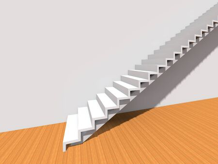 Conceptual stair on wall background building or architecture as metaphor to business success, growth, progress or achievement. 3D illustration of creative steps riseing up to the top as vision design 版權商用圖片