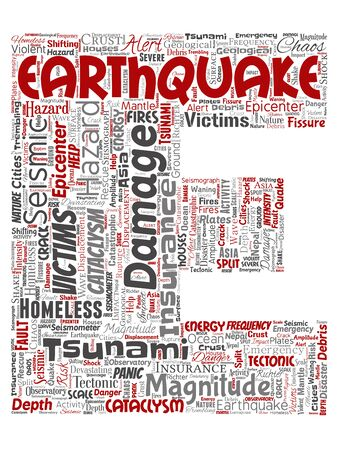 Conceptual earthquake activity letter font E red word cloud isolated background. Collage of natural seismic tectonic crust tremble, violent tsunami waves risk, tectonic plates shifting concept Stock Photo