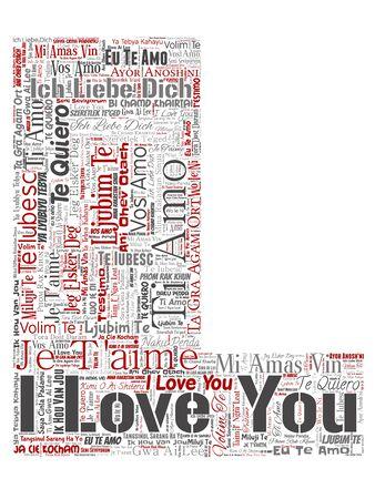 Doux romantique conceptuel je t'aime police de lettre de message multilingue L fond isolé de nuage de mots rouges. Collage de la Saint-Valentin, affection romantique, émotion heureuse ou concept charmant de passion Banque d'images