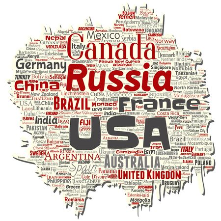 Vector conceptual world country or continent old torn paper red global unity, vacation travel word cloud isolated background. Collage of international nation geography education or tourism concept