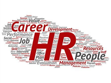 Vector concept conceptual hr or human resources career management abstract word cloud isolated on background. Collage of workplace, development, hiring success, competence goal, corporate or job text Illustration