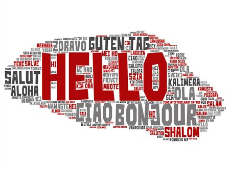Vector concept or conceptual abstract hello or greeting international tourism word cloud in different languages or multilingual. Collage of world, foreign, worldwide travel, translate, vacation text Çizim