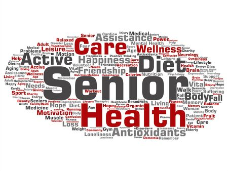 Vector concept conceptual old senior health, care or elderly people treatment abstract word cloud isolated background. A collage of healthcare, illness, medicine assistance, help, active or happy text