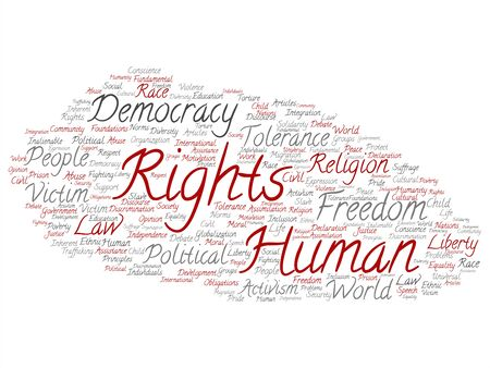 Vector concept or conceptual human rights political freedom, democracy abstract word cloud isolated background. Collage of humanity world tolerance, law principles, people justice discrimination text Illustration