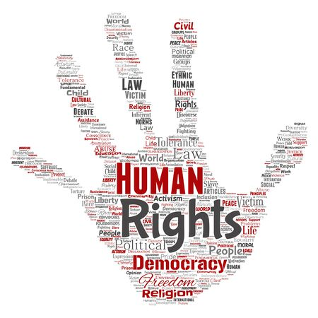 Conceptual human rights political freedom, democracy hand print stamp word cloud isolated background. Collage of humanity tolerance, law principles, people justice or discrimination concept Banque d'images - 129330706