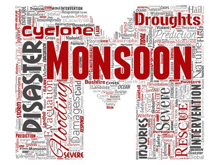 Conceptual monsoon dangerous weather letter font M red meteorology word cloud isolated background. Collage of tropical dramatic storm force, strong wind blowing, rain hail thunderstorm concept