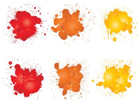 Collection of artistic grungy paint drop, hand made creative splash or splatter stroke set isolated white background. Abstract grunge dirty stains group, education or graphic art decoration Stockfoto