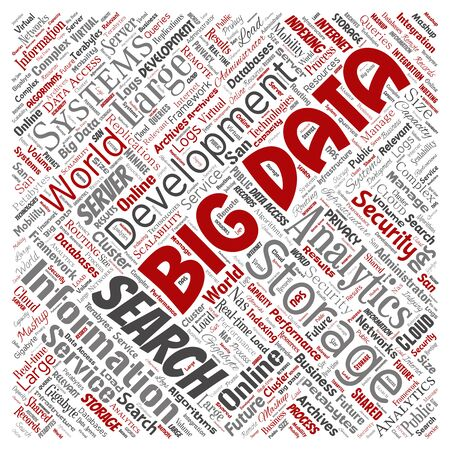 Conceptual big data large size storage systems square red word cloud isolated background. Collage of search analytics world information, nas development, future internet mobility concept