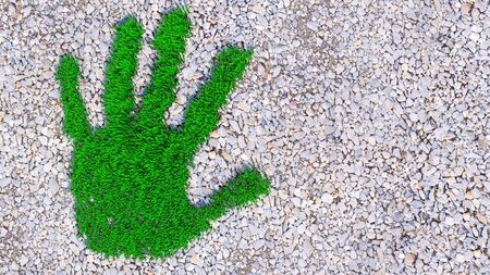 Concept or conceptual green grass handprint on gravel background. A metaphor for ecology, environment, recycle, nature conservation, spring, summe or protection against global warming 3d illustration