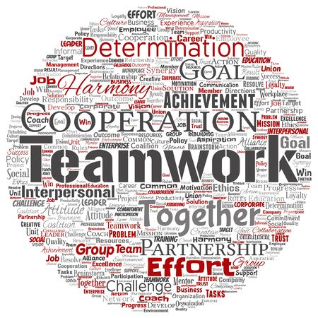 Conceptual teamwork management round circle red partnership idea, success goal word cloud isolated background. Collage of business strategy as group cooperation solution or team concept design