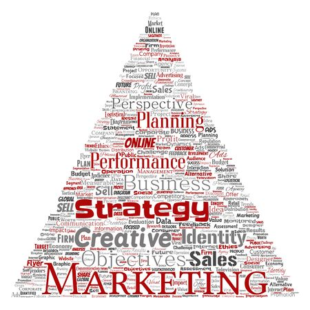 Conceptual development business marketing target triangle arrow word cloud isolated background. Collage advertising, strategy, promotion branding, value, performance planning or challenge Foto de archivo - 129372297