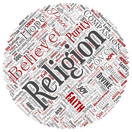 Conceptual religion, god, faith, spirituality round circle red  word cloud isolated background. Collage of worship, love, prayer, belief, gratitude, hope, divine, symbol, spirit, church concept Foto de archivo - 129372305