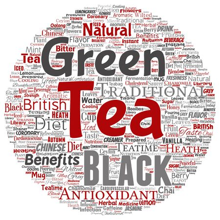 Conceptual green or black tea beverage culture round circle red natural flavor, taste variety word cloud isolated background. Collage of traditional medicine health diet benefit concept design 免版税图像