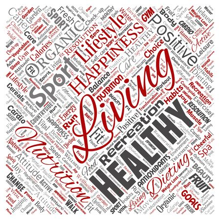 Conceptual healthy living positive nutrition sport square red word cloud isolated background. Collage of happiness care, organic, recreation workout, beauty, vital healthcare spa concept Foto de archivo - 129372461