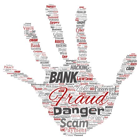 Conceptual bank fraud payment scam danger hand print stampword cloud isolated background. Collage of password hacking, virus fake authentication, illegal transaction or identity theft concept Foto de archivo - 129372447