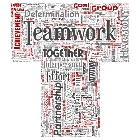 Conceptual teamwork management letter font red partnership idea, success goal word cloud isolated background. Collage of business strategy, group cooperation solution or team concept design Foto de archivo - 129372466