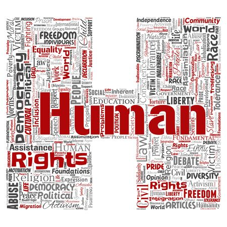 Conceptual human rights political freedom, democracy letter font H word cloud isolated background. Collage of humanity tolerance, law principles, people justice or discrimination concept Foto de archivo - 129372482