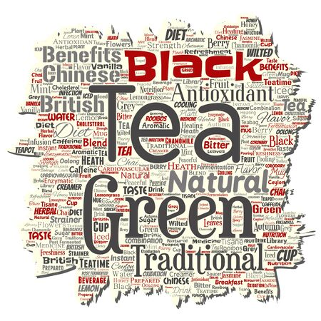 Vector conceptual green or black tea beverage culture old torn paper red natural flavor, taste variety word cloud isolated background. Collage of traditional medicine health or diet benefit concept Illustration
