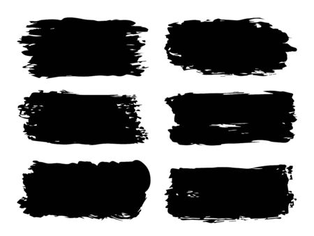 Vector collection or set of artistic black paint, ink or acrylic hand made creative brush stroke backgrounds isolated on white as grunge or grungy art, education abstract elements frame design Stock Illustratie