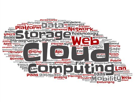 Vector concept conceptual web cloud computing technology abstract wordcloud isolated on background. Collage of communication, business, storage service, internet, virtual, online mobility hosting text Ilustrace