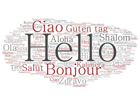 Vector concept or conceptual abstract hello or greeting international tourism word cloud in different languages or multilingual. Collage of world, foreign, worldwide travel, translate, vacation text Ilustrace