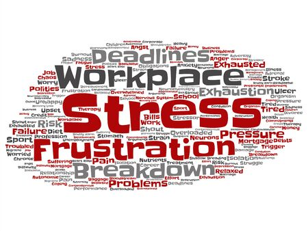 Vector concept conceptual mental stress at workplace or job pressure abstract word cloud isolated background. Collage of health, work, depression problem, exhaustion, breakdown, deadlines risk text Stok Fotoğraf - 129470002