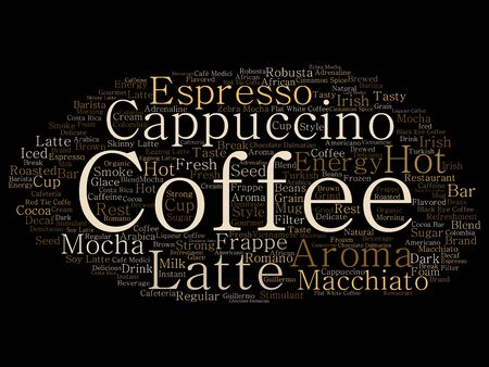 Vector conceptual creative hot morning italian coffee break, cappuccino or espresso restaurant or cafeteria abstract beverage word cloud isolated on background. An energy or taste drink concept text