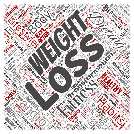 Conceptual weight loss healthy diet transformation square red word cloud isolated background. Collage of fitness motivation lifestyle, before and after workout slim body beauty concept Foto de archivo - 129429888