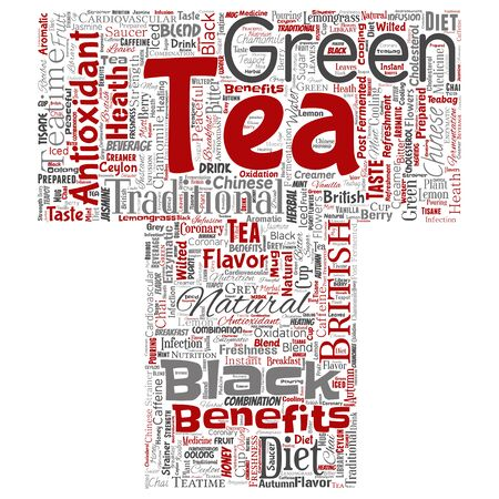 Conceptual green or black tea beverage culture letter font red natural flavor, taste variety word cloud isolated background. Collage of traditional medicine health or diet benefit concept Foto de archivo - 129429893