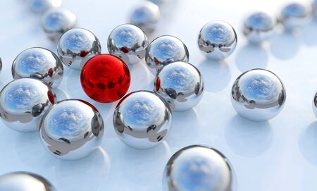 Concept or conceptual collection of balls in form of a circle with a red one standing out on blue background as a metaphor for creativity and leadership. A courage or success 3d illustration 写真素材