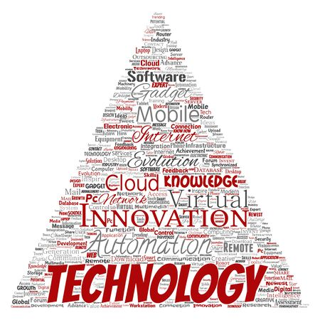 Conceptual digital smart technology, innovation media triangle arrow word cloud isolated background. Collage of information, internet, future development, research, evolution or intelligence Foto de archivo - 129429899