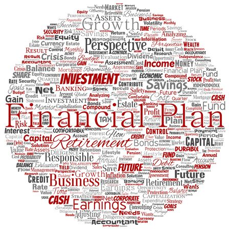 Conceptual business or personal financial plan round circle red finance strategy word cloud isolated background. Collage of income, money investment, future retirement security concept design Foto de archivo - 129429903
