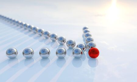 Concept or conceptual row of balls in form of an arrow with a red one standing out on blue background as a metaphor for creativity and leadership. A courage, action and success 3d illustration