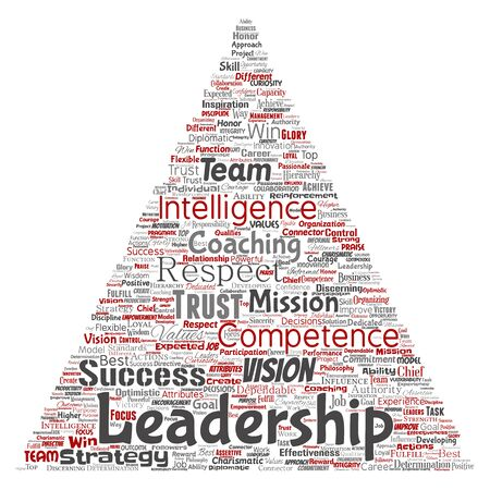 Conceptual business leadership strategy, management value triangle arrow word cloud isolated background. Collage of success, achievement, responsibility, intelligence authority or competence Foto de archivo - 129429951