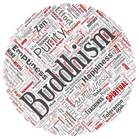 Conceptual buddhism, meditation, enlightenment, karma round circle red word cloud isolated background. Collage of mindfulness, reincarnation, nirvana, emptiness, bodhicitta, happiness concept Foto de archivo - 129429949