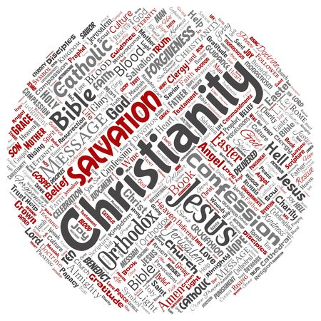 Conceptual christianity, jesus, bible, testament round circle red  word cloud isolated background. Collage of teachings, salvation resurrection, heaven, confession, forgiveness, love concept
