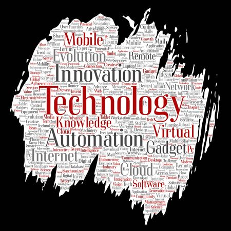 Conceptual digital smart technology, innovation media paint brush paper word cloud isolated background. Collage of information, internet, future development, research, evolution or intelligence Foto de archivo - 129429964