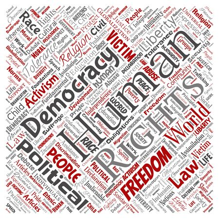 Conceptual human rights political freedom, democracy square red  word cloud isolated background. Collage of humanity tolerance, law principles, people justice or discrimination concept Foto de archivo - 129429973