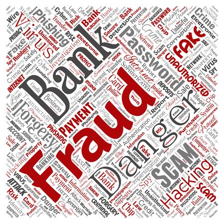 Conceptual bank fraud payment scam danger square red word cloud isolated background. Collage of password hacking, virus fake authentication, illegal transaction or identity theft concept Reklamní fotografie