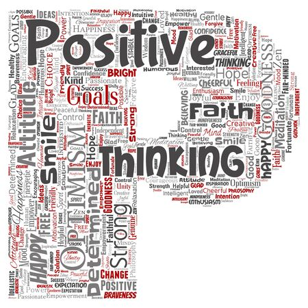 Conceptual positive thinking, happy strong attitude letter font P word cloud isolated on background. Collage of optimism smile, faith, courageous goals, goodness or happiness inspiration Banque d'images - 129470040